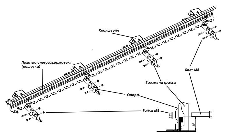 Схема решетчатого снегозадержателя для фальцевой кровли